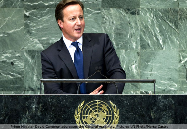 Prime Minister David Cameron addresses the General Assembly.